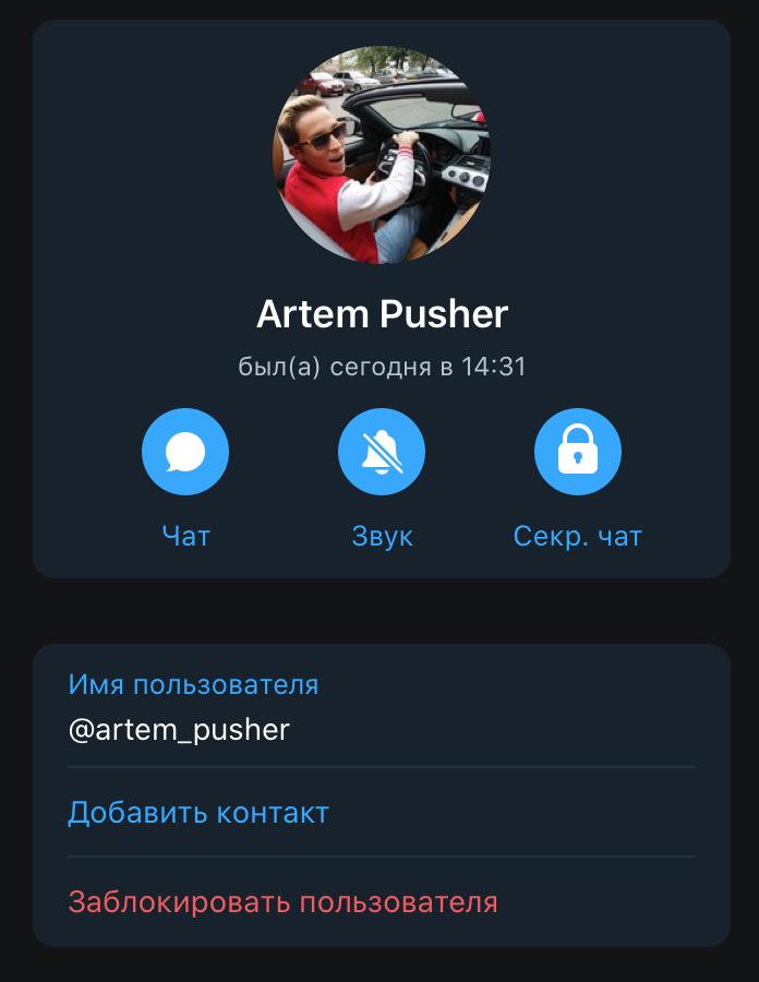 Телеграм админа Пушер Дарит