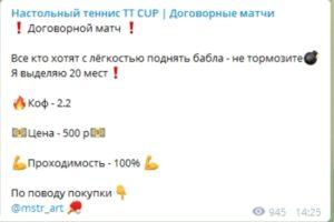 Стоимость прогнозов канала «Настольный теннис TT CUP»