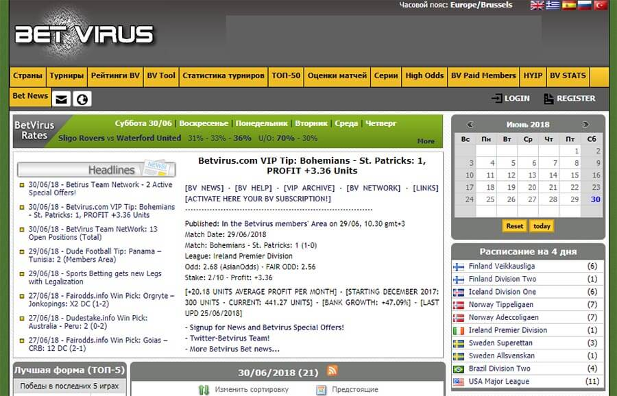 Главная страница сайта Betvirus (Бетвирус)