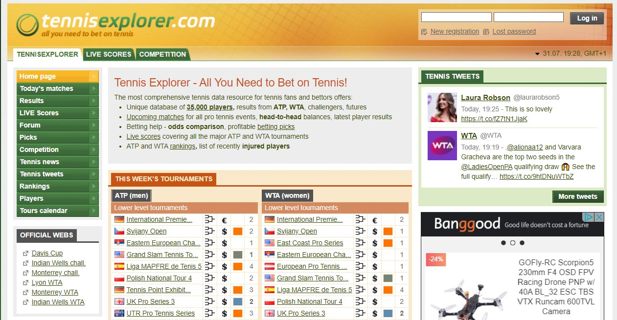 Главная страница сайта Tennis explorer (Теннис Эксплорер)