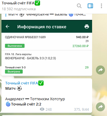 Проход прогнозов от канала Точный счет Fifa в Телеграм