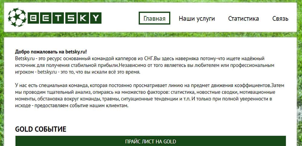Главная страница сайта BetSky ru