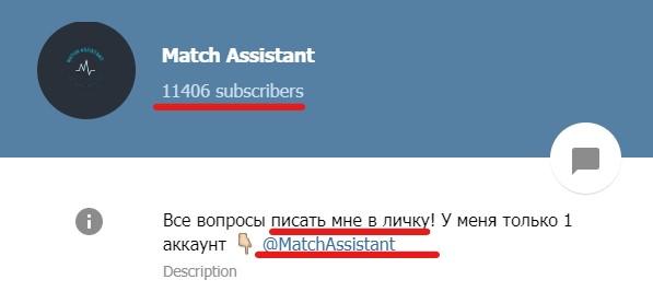 match assistant информация о канале